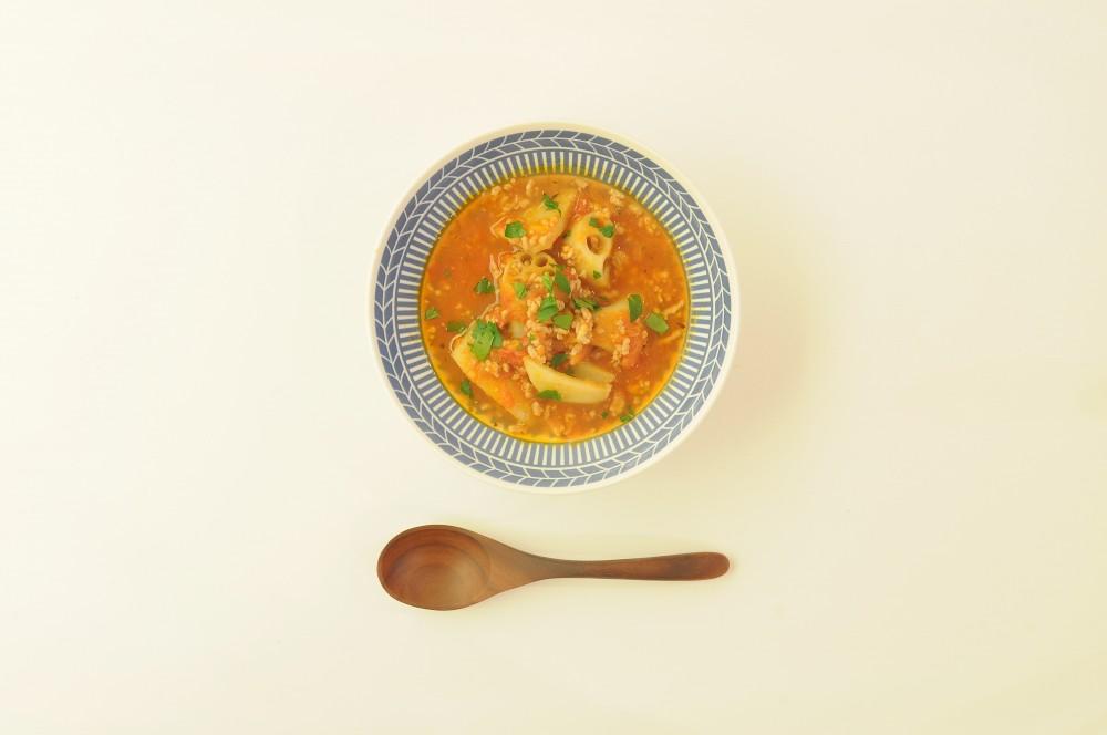 蓮根と挽肉のトマトスープ