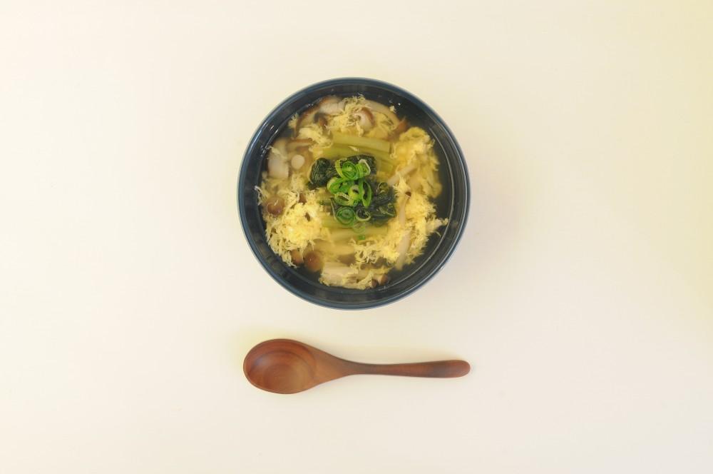 野沢菜ときのこの卵スープ