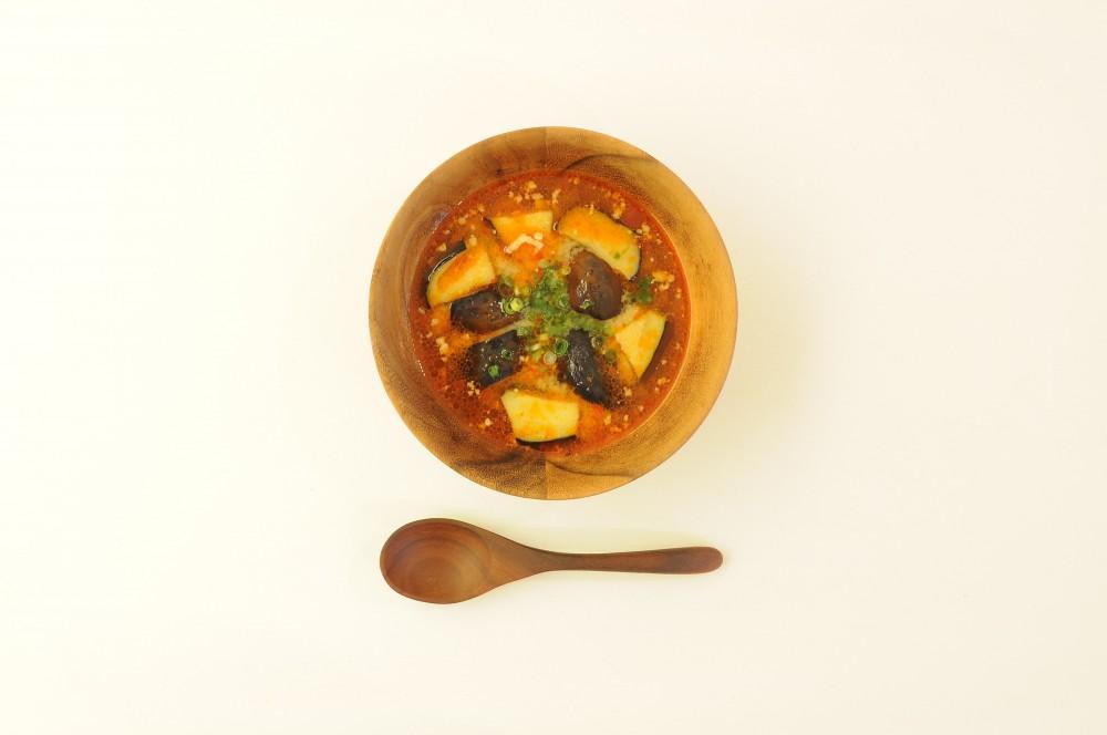 秋茄子のタンタン味噌スープ