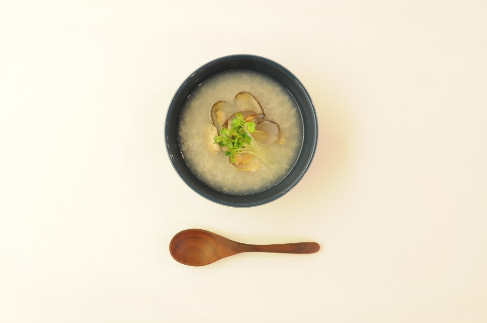 浅蜊ともち米の中華スープ
