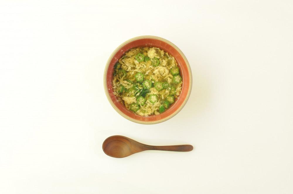 オクラと香味野菜のふんわり卵スープ