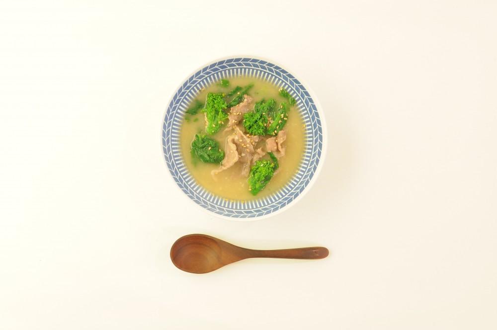 菜の花と牛肉の塩麹スープ
