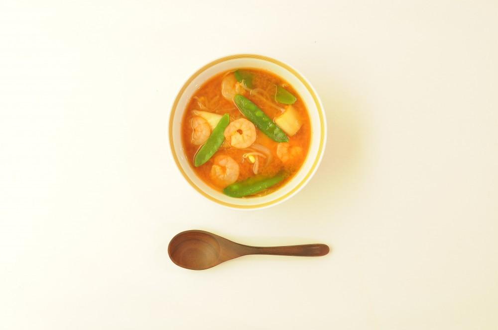 海老ともやしのキムチスープ