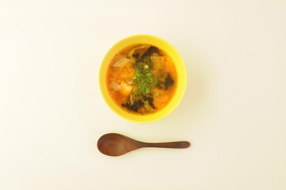 焼き海苔とキムチのスープ