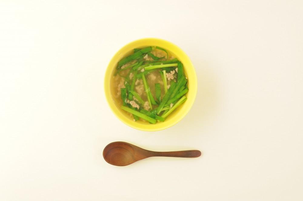 豚ひき肉とにらの春雨スープ