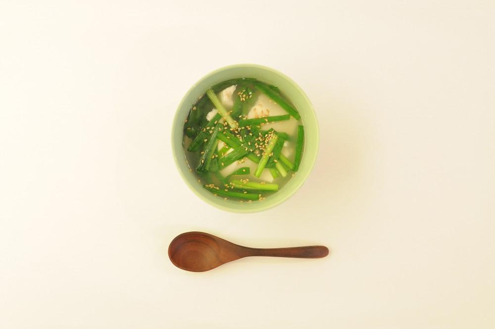 豆腐とニラのスープ