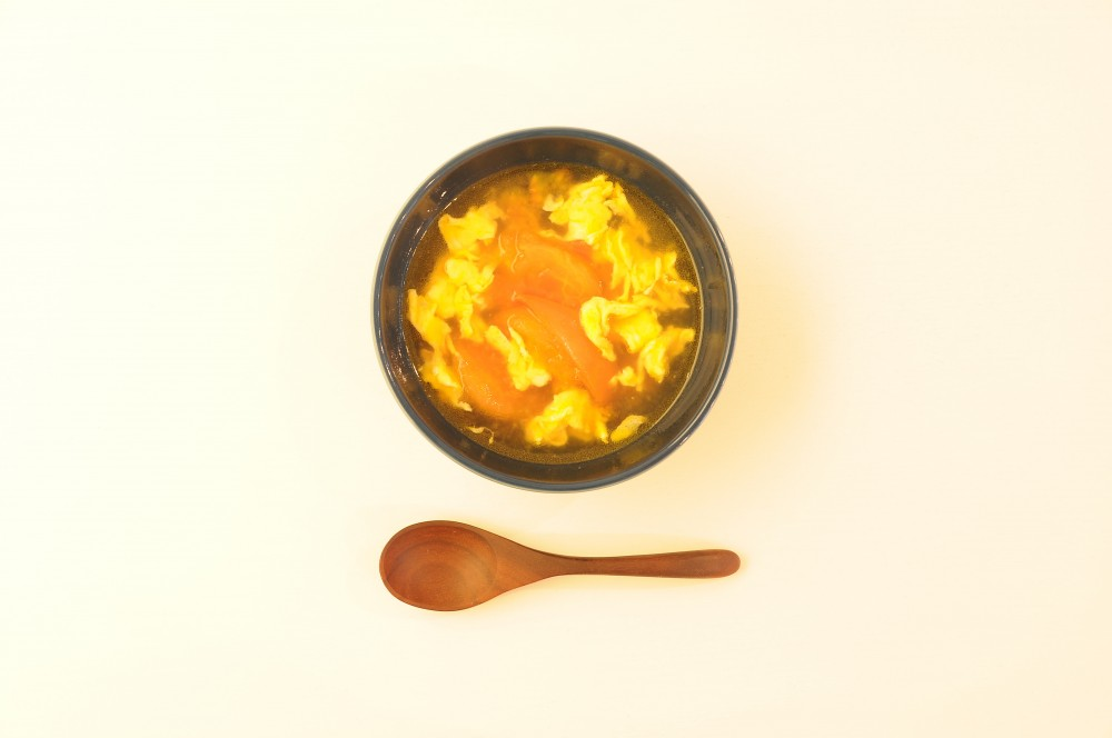 トマトと炒り卵のオイスタースープ