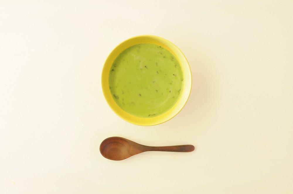 ミントとグリーンピースの冷製スープ